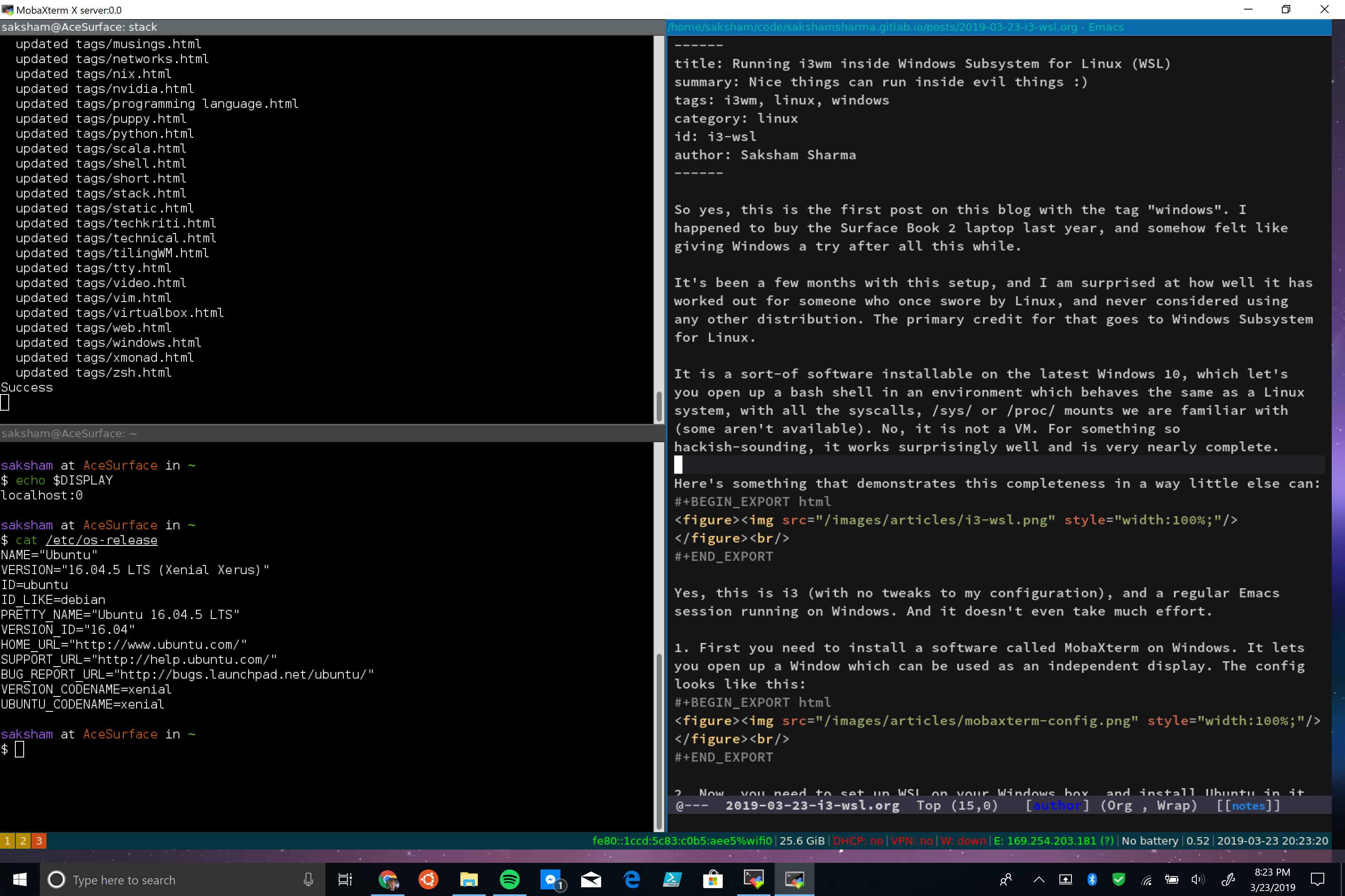 AceHack-Running i3wm inside Windows Subsystem for Linux (WSL), and